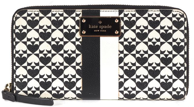 KATE SPADE Black White Coated Canvas Penn Place Neda Wallet
