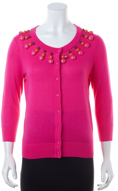 KATE SPADE Hot Pink Bead Embellished Fitted Button Up Cardigan