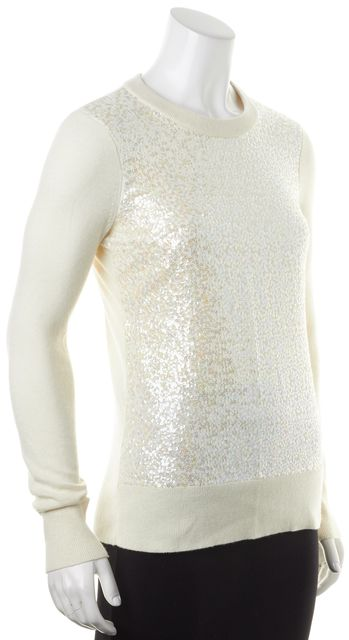 KATE SPADE Ivory Black Ribbon Sequin Embellished Wool Crewneck Sweater