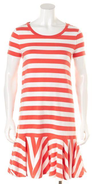 KATE SPADE Orange White Striped Drop Waist Shift Dress