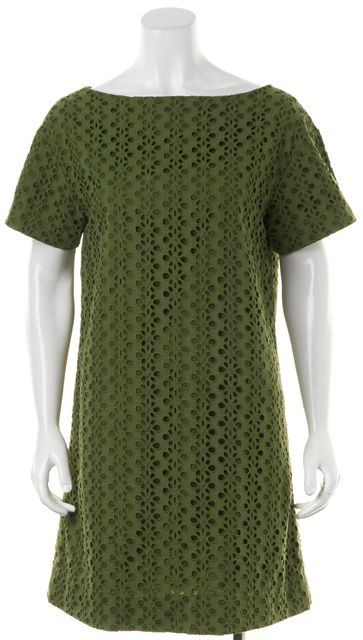 KATE SPADE Medium Green Eyelet Layered Short Sleeve Shift Dress