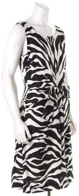 KATE SPADE Black White Zebra Print Linen Sleeveless Sheath Dress