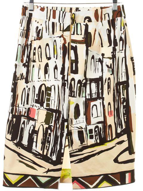 KATE SPADE White Brown Havana Cuba Scenic Print A-Line Skirt