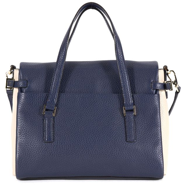 KATE SPADE Navy Blue Ivory Color Block Pebbled Leather Satchel