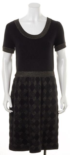KATE SPADE Black Bronze Metallic Wool Checkered Knit Stretch Sheath Dress