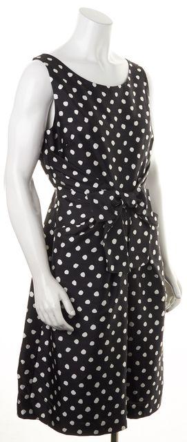 KATE SPADE Black White Textured Polka Dot Silk Front Bow Sheath Dress
