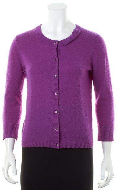 KATE SPADE Purple Wool Cashmere Knit Bow Neck Cardigan Sweater