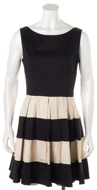 KATE SPADE Black Ivory Striped Pleated Sleeveless Fit Flare Dress