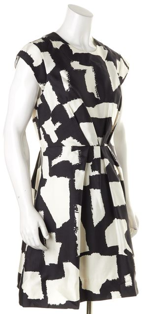 KATE SPADE Black White Cotton Silk Paint The Town Jane Fit & Flare Dress