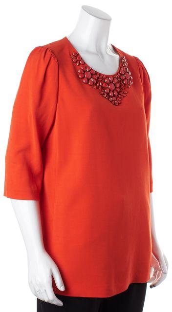 KATE SPADE Orange Jewel Embellished Short Sleeve Blouse Top