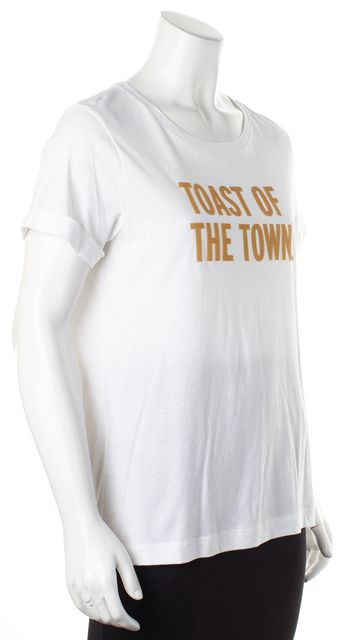 KATE SPADE White Gold Flitter Toast Of The Town Graphic Tee T-Shirt
