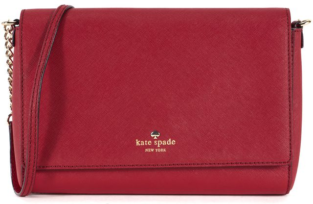 KATE SPADE Red Saffiano Leather Chain Strap Crossbody Shoulder Bag