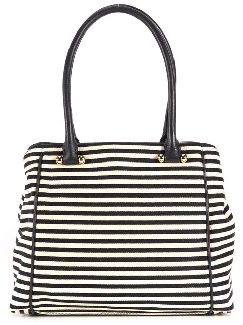KATE SPADE White Black Striped Canvas Leather Trim Shoulder Bag