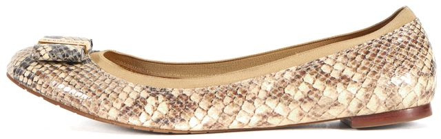 KATE SPADE Beige Snake Embossed Leather Bow Embellished Flats