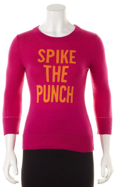 "KATE SPADE Pink Orange ""Spike The Punch"" Graphic Wool Crewneck Sweater"