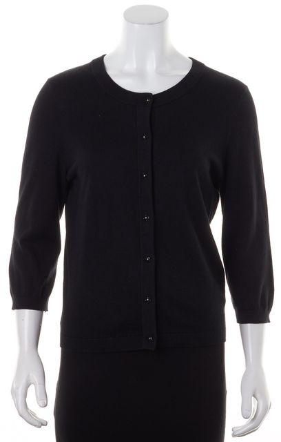 KATE SPADE Black Cotton Knit 3/4 Sleeve Button Down Cardigan