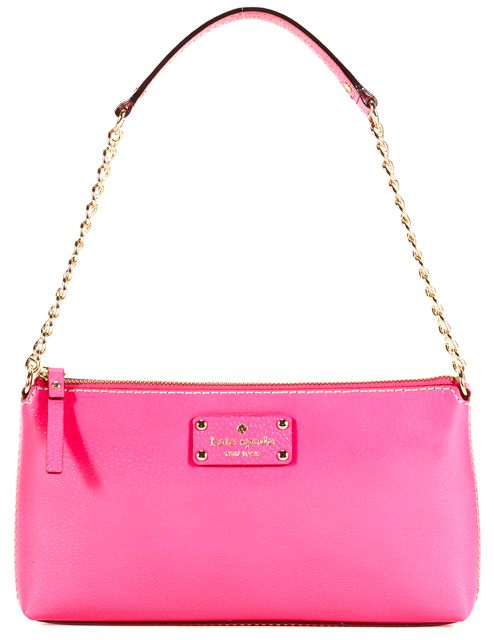 KATE SPADE Hot Neon Pink Leather Gold-Tone Chain Strap Shoulder Bag