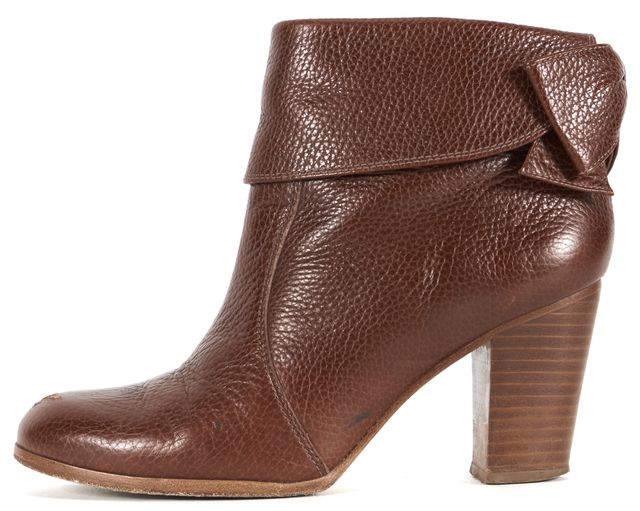 KATE SPADE Brown Pebble Leather Bow Zip Up Ankle Boot Heels