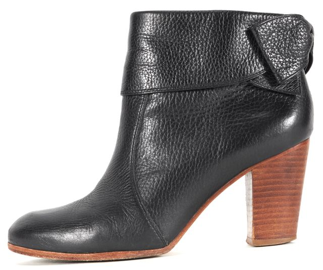 KATE SPADE Black Pebble Leather Bow Zip Up Ankle Boot Heels