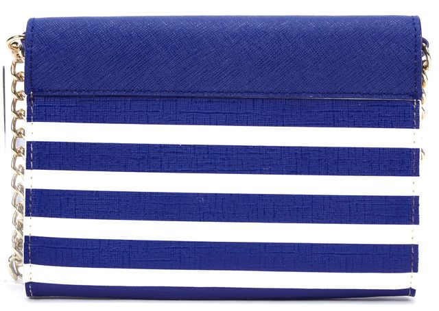 KATE SPADE Navy Blue Cream Striped Leather Monday Crossbody