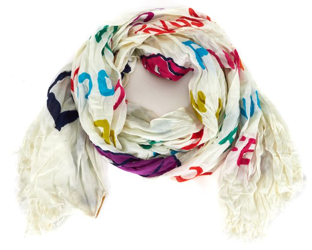 KATE SPADE White Red Purple Popsicle Viva Colores Scarf