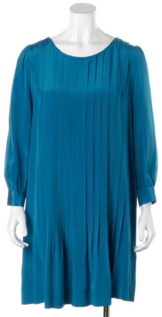 KATE SPADE Blue Pleated Silk Long Sleeve Shift Dress