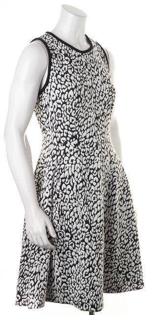 KATE SPADE White Black Leopard Jacquard Knit Sleeveless Fit Flare Dress