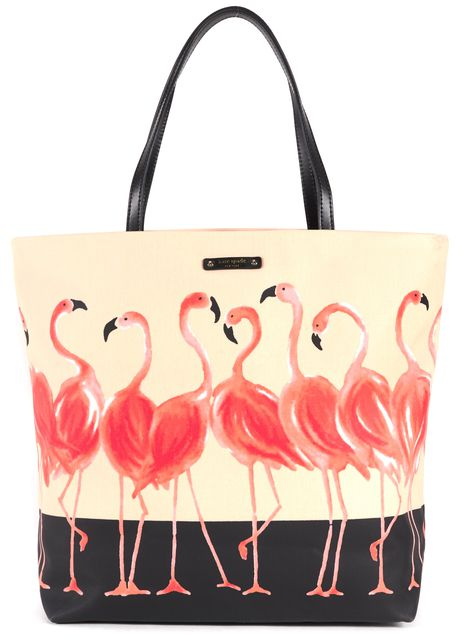 KATE SPADE Pink Black Coated Canvas Flamgopard Bon Shopper Tote