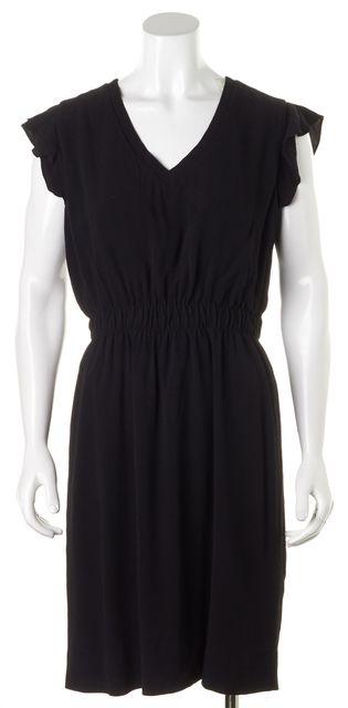 KATE SPADE Black Flutter Cap Sleeves V-Neck Blouson Dress