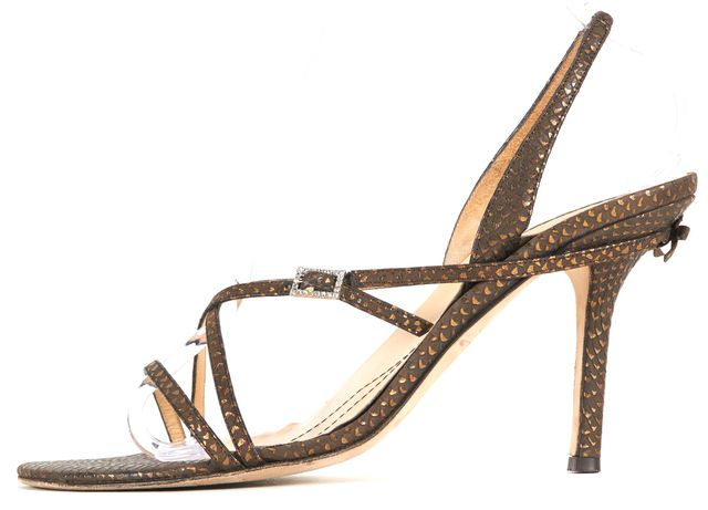 KATE SPADE Brown Gold Abstract Leather Slingback Sandal Heels