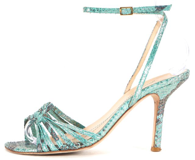 KATE SPADE Metallic Blue Gold Abstract Leather Sandal Heels