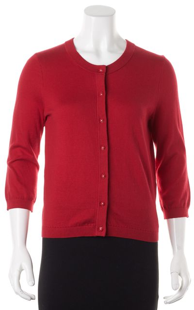 KATE SPADE Red Cotton Silk Cashmere Button Up Cardigan