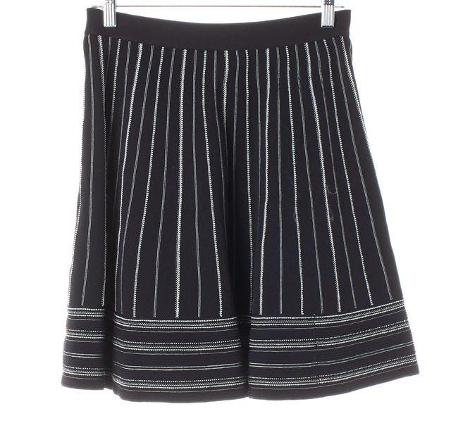 KATE SPADE Black White Striped Knit A-Line Skirt