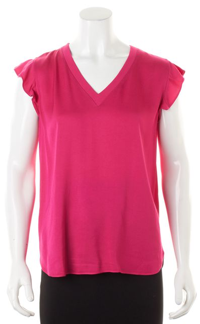 KATE SPADE Fuchsia Pink Ruffled Cap Sleeve V-Neck Blouse Top
