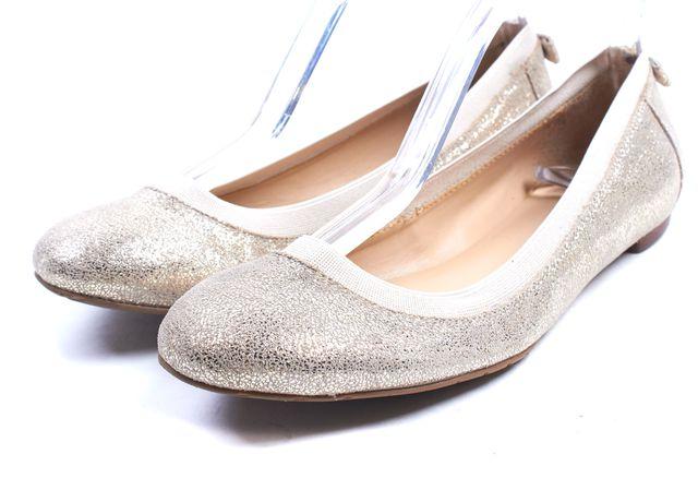KATE SPADE Gold Glitter Suede Taffy Baller Flats