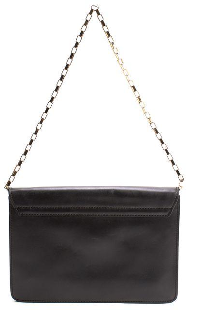 KATE SPADE Black Leather Flap Twist Lock Chain Strap Shoulder Bag