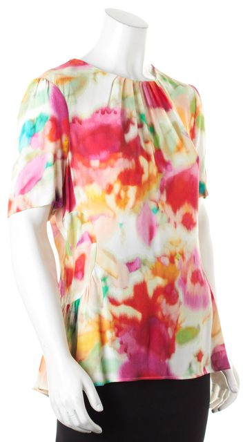KATE SPADE White Pink Red Green Multi-Color Abstract Print Blouse Top