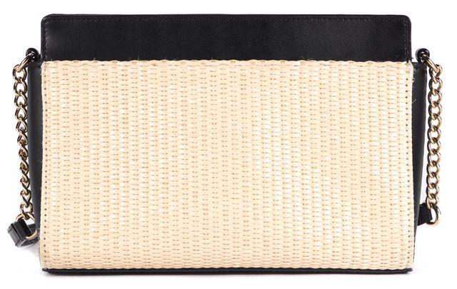 KATE SPADE Beige Black Straw Leather Trim Montford Park Crossbody
