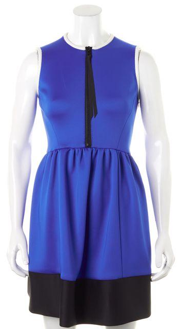 KATE SPADE Blue Black White Color Block Sleeveless Fit & Flare Dress