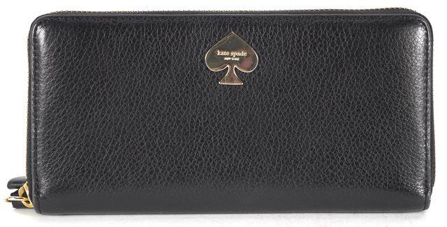 KATE SPADE Black Leather Zip Around Wallet