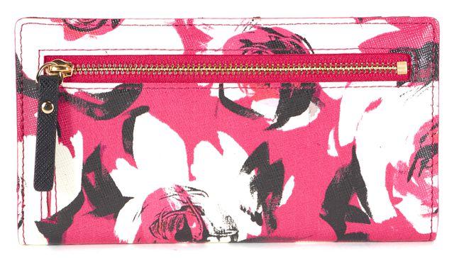 KATE SPADE Pink White Black Floral Printed Slim Snap Button Wallet