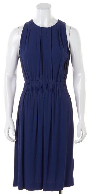 KATE SPADE Navy Blue Sleeveless Pleated Knee-Length Blouson Dress