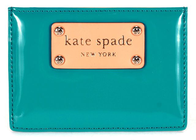 KATE SPADE Turquoise Blue PVC Beige Leather Trim Card Case