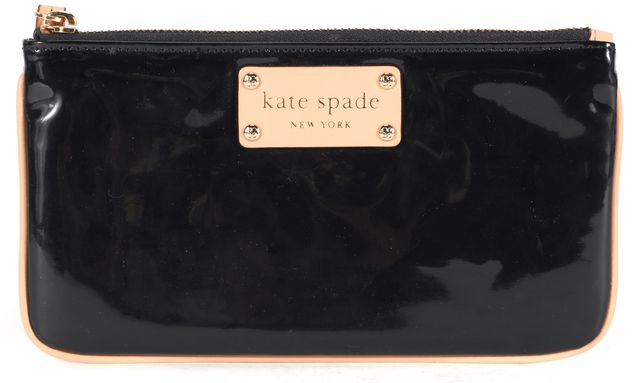 KATE SPADE Black PVC Beige Leather Trim Wristlet Clutch