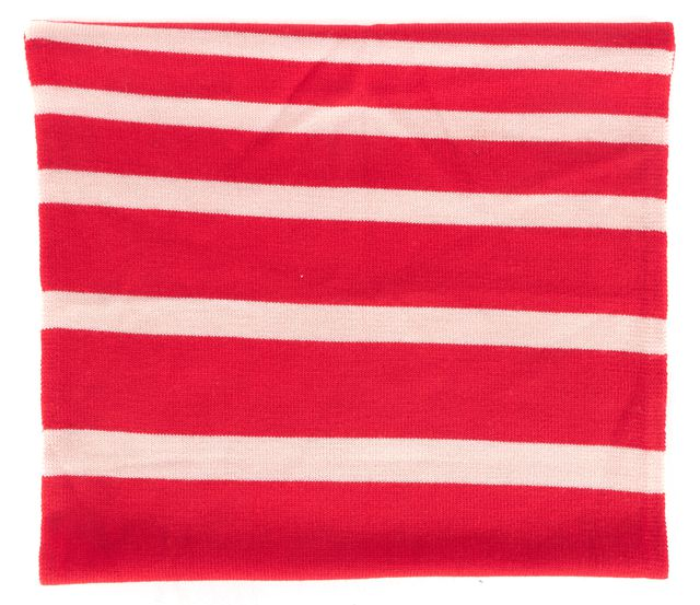 KATE SPADE Red Pink Striped Wool Knit Infinity Scarf