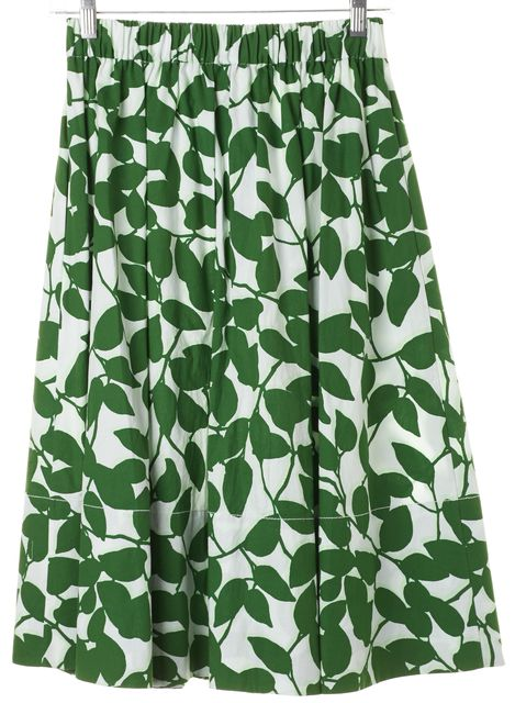 KATE SPADE Green White Floral Button Front Midi A-Line Skirt