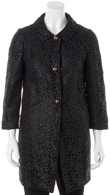 KATE SPADE Black Floral Lace Button Up Franny Basic Coat