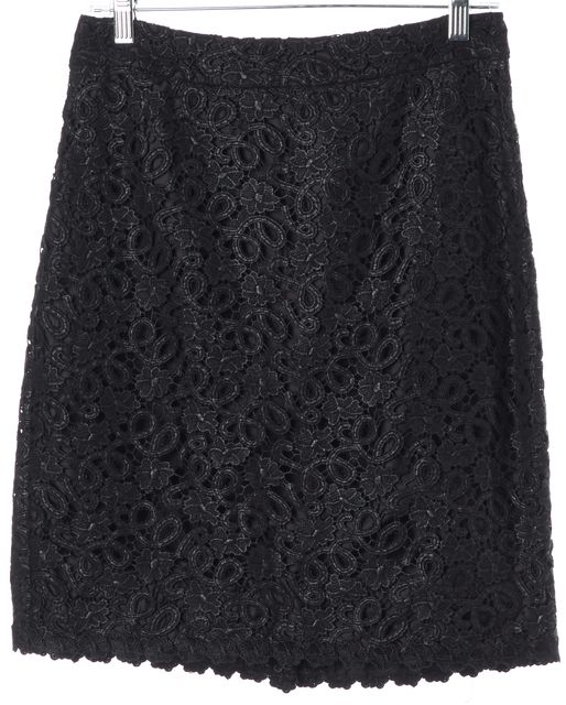KATE SPADE Black Floral Lace Overlay Cotton Judy Straight Skirt