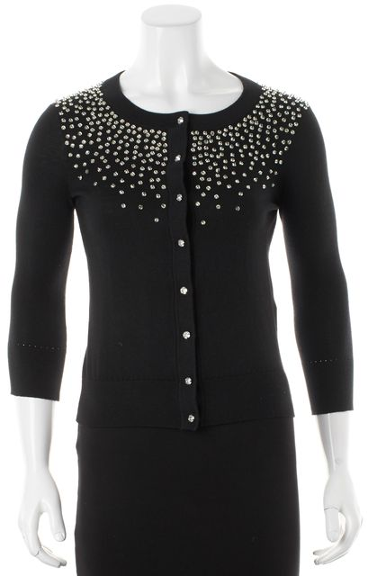 KATE SPADE Black Jewel Embellished Benson Cardigan
