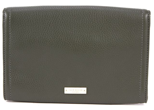 KATE SPADE Olive Green Pebbled Leather Bamboo Turn Lock Clutch